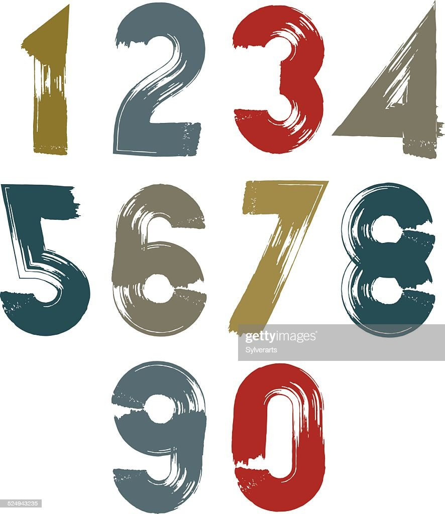 Multicolored handwritten numbers, vector doodle brushed digits