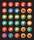 Multicolored icons related to communication