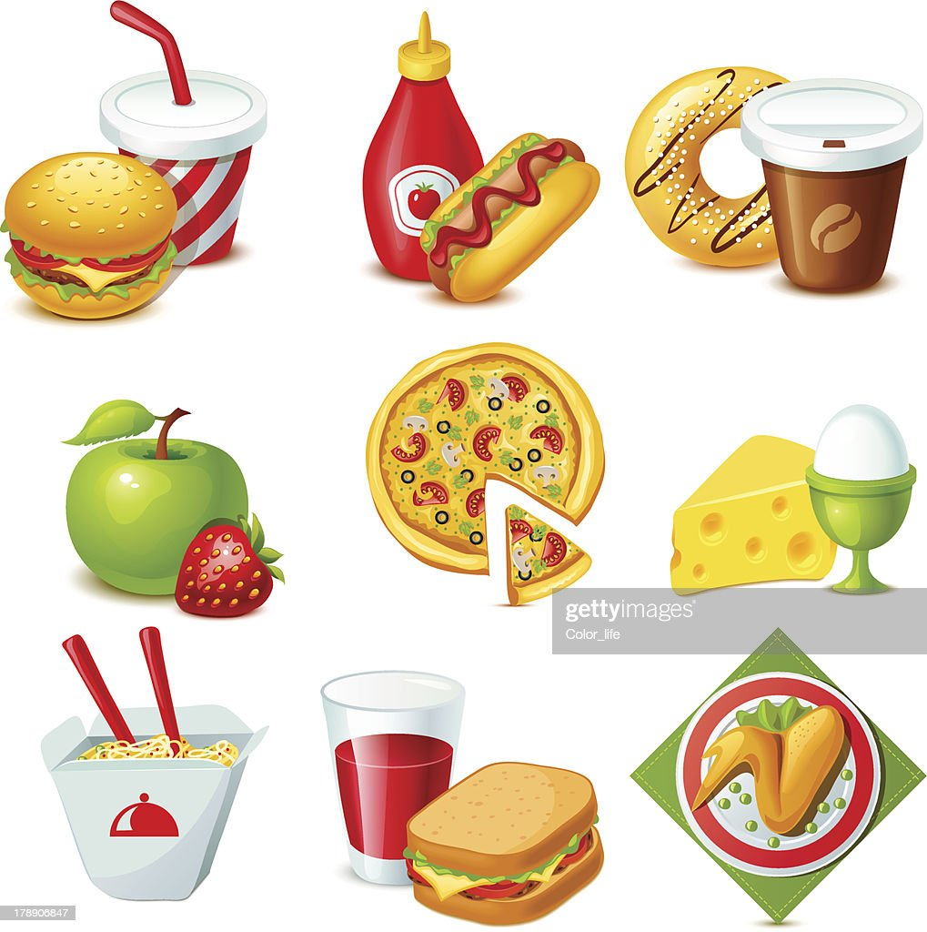 Multicolored illustration of food icons