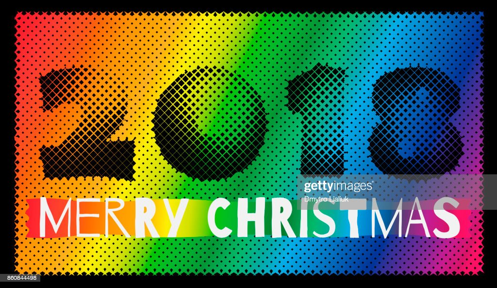 Multi-colored inscription 2018 merry christmas on a black background, template for design of a greeting card of the New Year, Christmas