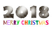 Multi-colored inscription 2018 merry christmas on a white background, template for design of a greeting card of the New Year, Christmas