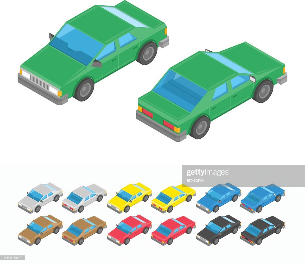 Multicolored isometric car set.
