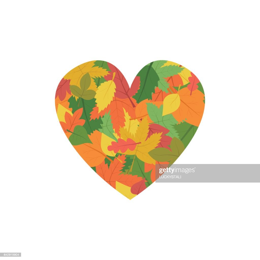 Multicolored leaves in the form of heart are laid out. I like autumn. Web banner for printing, background for design in a flat style.
