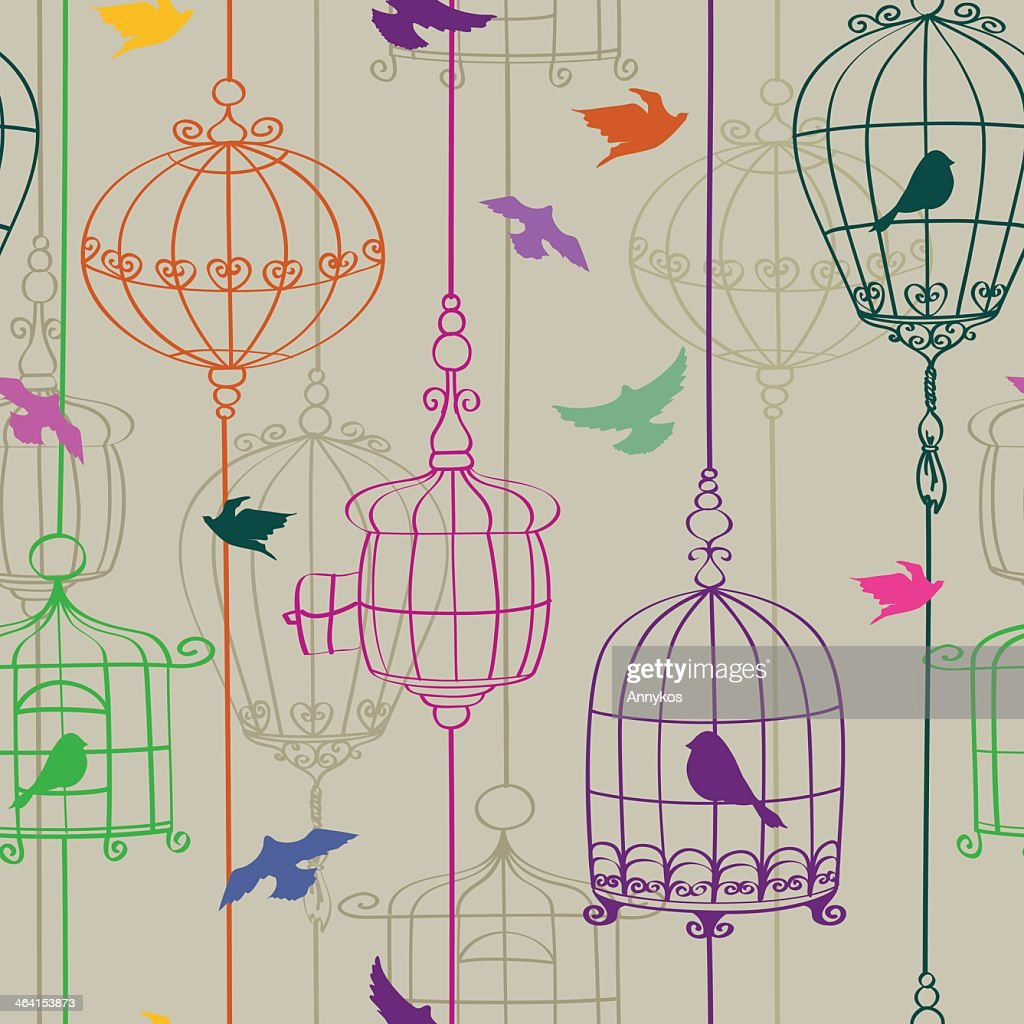 Multicolored line graphics of birds in cages