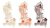Multi-colored logo icons set for Krishna birthday