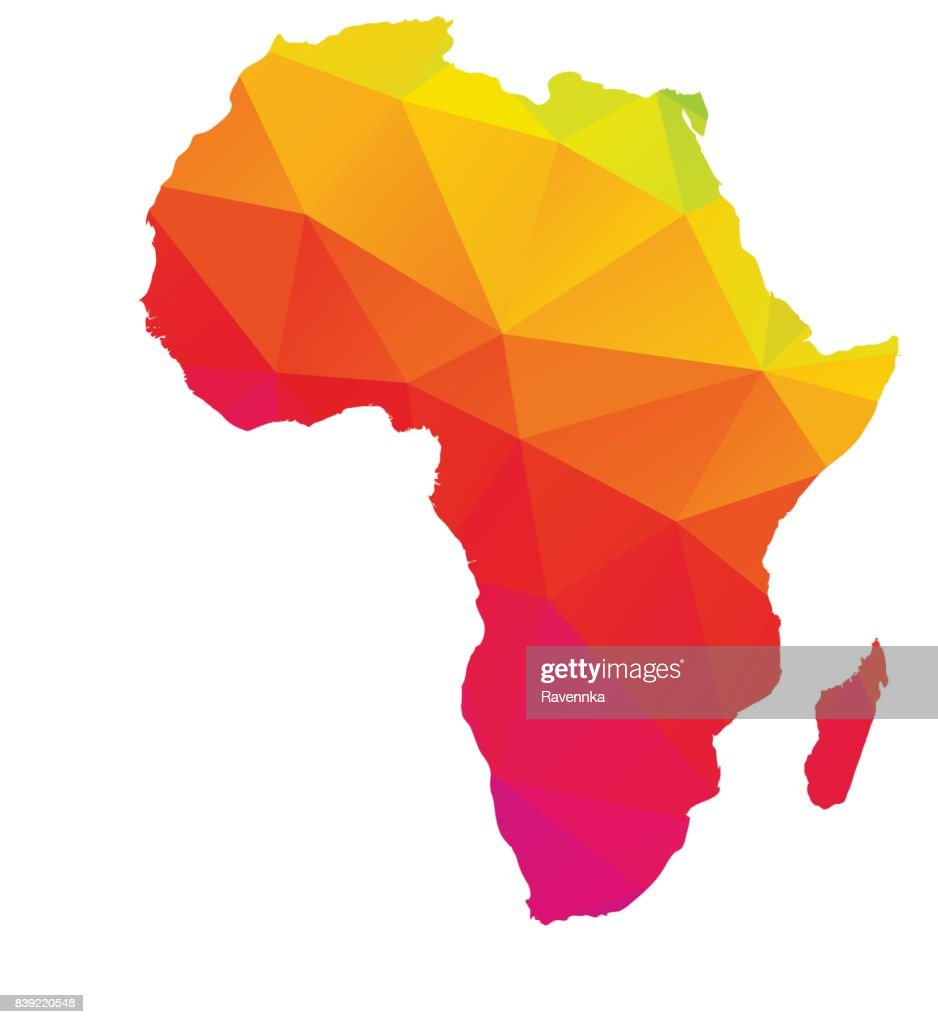 Multicolored low poly map of Africa with Madagascar