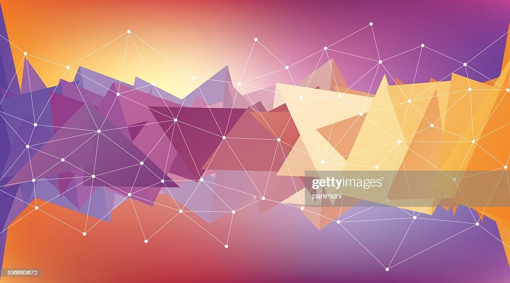 Multicolored low polygon shapes, color mosaic