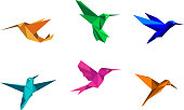 Multi-colored origami hummingbirds