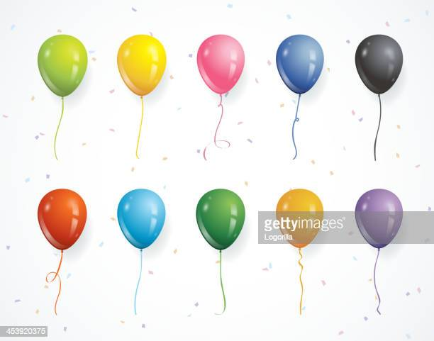 multicolored party balloons with confetti - balloon ride stock illustrations