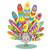 Multicolored peacock vector illustration cartoon character, patc