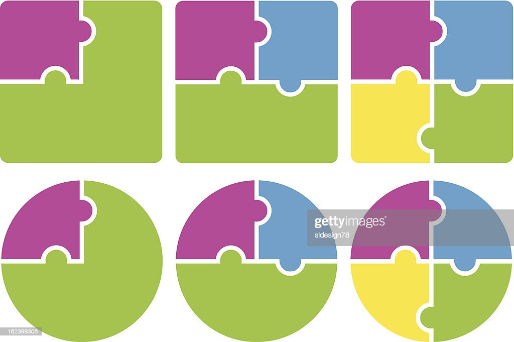 Multicolored puzzle pieces forming squares and circles