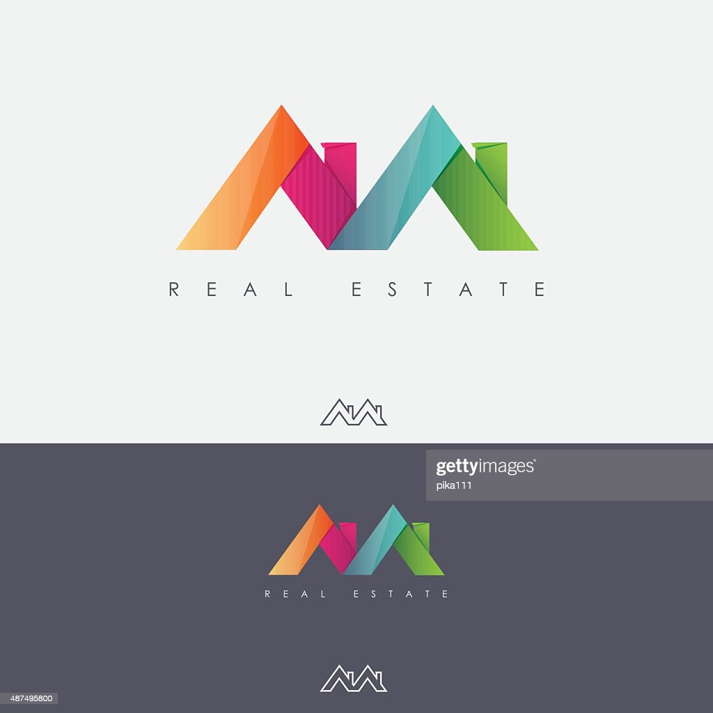 Multicolored real estate mark design with roof tops