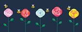 Multicolored roses set