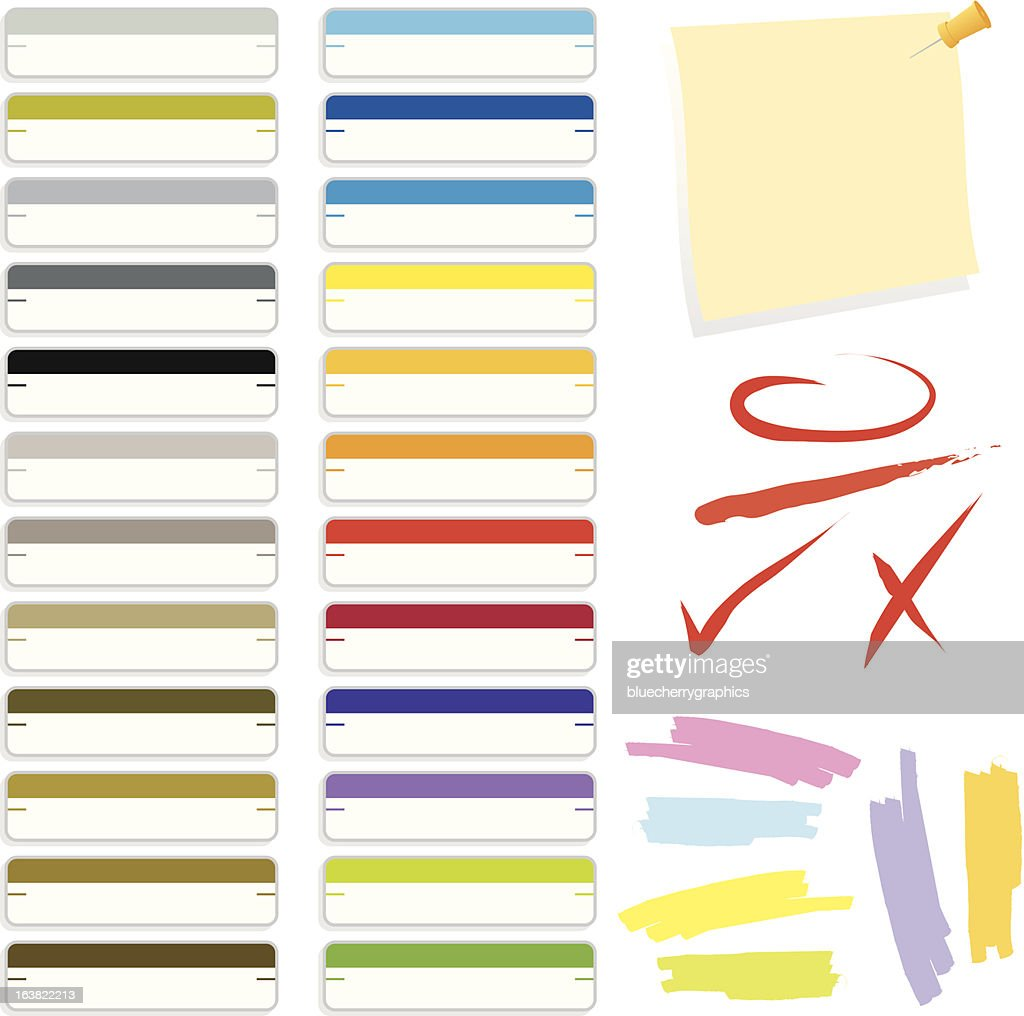Multicolored set of business folder tabs and graphics