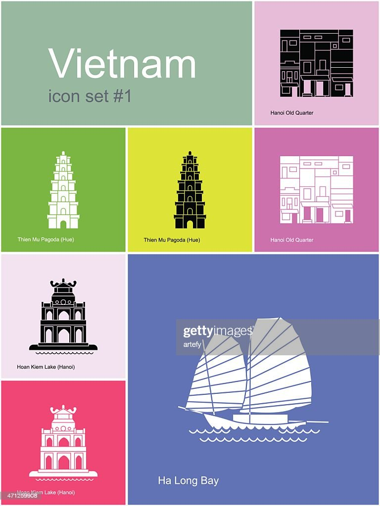 A multicolored sheet of different Vietnam icons