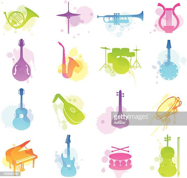 multicolored stains icons of various musical instruments - musical instrument stock illustrations, clip art, cartoons, & icons