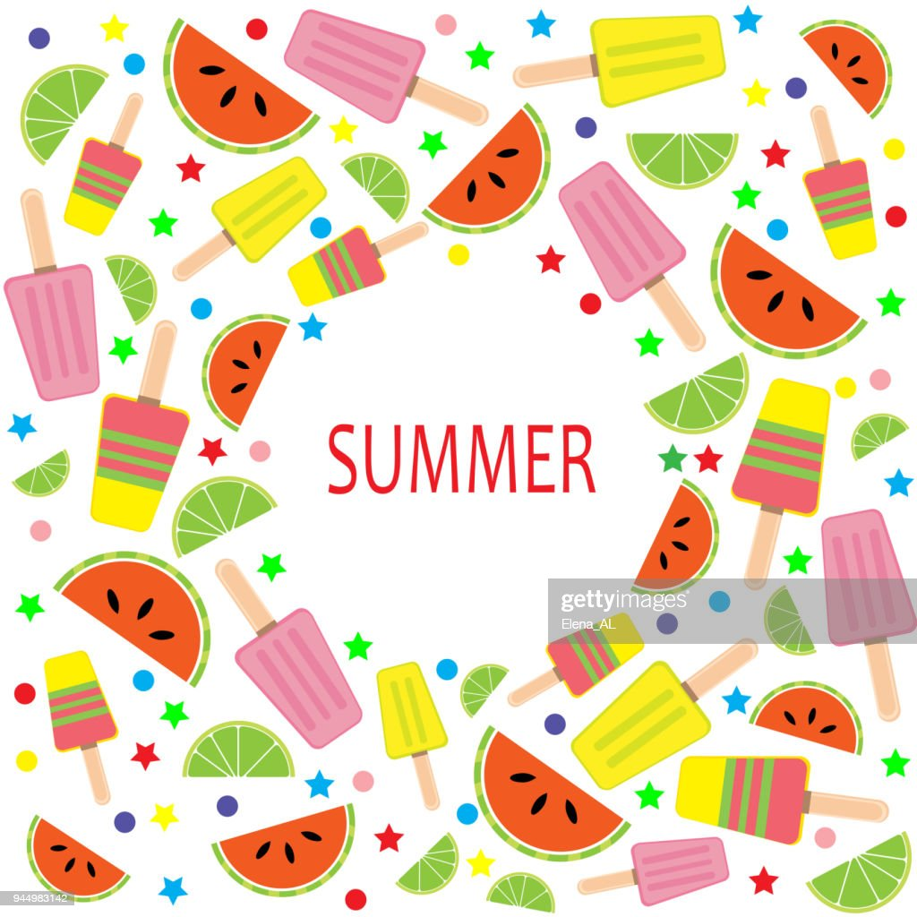 Multicolored summer card with ice cream, slices watermelon and lime, circles, stars. Vector background.