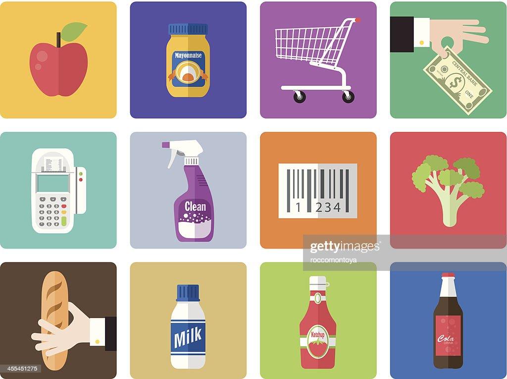 A multicolored supermarket icon set