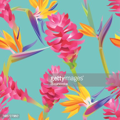 Multicolored tropical floral pattern on blue