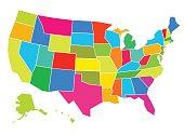 Multicolored USA Map