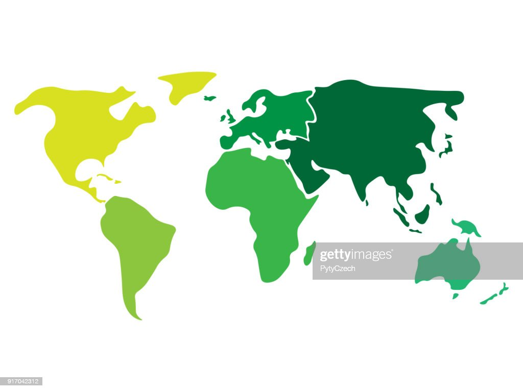 Multicolored world map divided to six continents in different colors - North America, South America, Africa, Europe, Asia and Australia Oceania. Simplified silhouette blank vector map without labels