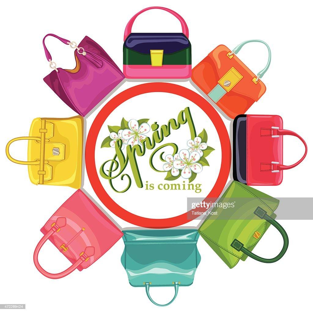 Multicoloured fashion womens handbag.Circle composition.Spring.e