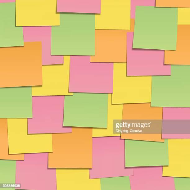 Multi-coloured Post it wall