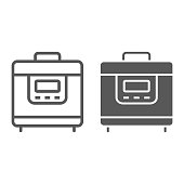 Multicooker line and glyph icon, kitchen and cooking, household sign vector graphics, a linear pattern on a white background, eps 10.