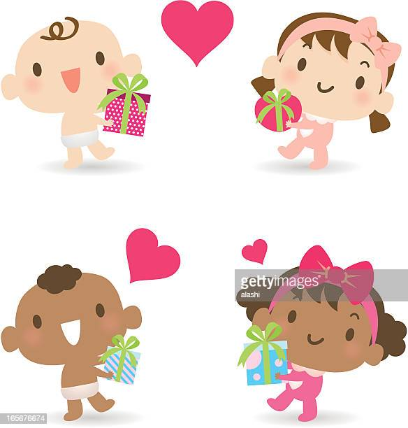 Multicultural babies giving love gifts ( boy, girl )