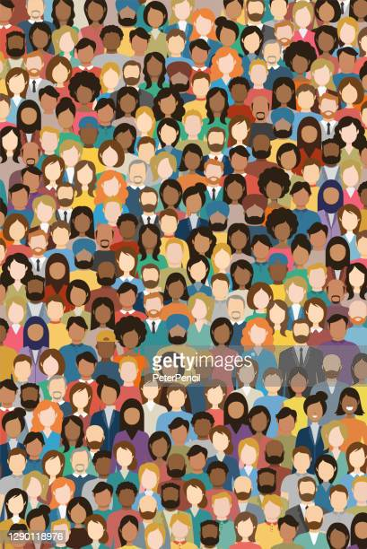 multicultural crowd of people. group of different men and women. young, adult and older peole. european, asian, african and arabian people. empty faces. vertical orientation. vector illustration. - multiculturalism stock illustrations