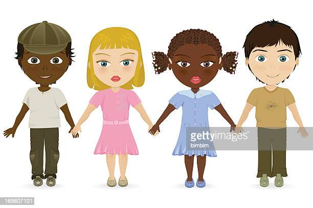 multicultural friends - 8 9 years stock illustrations, clip art, cartoons, & icons