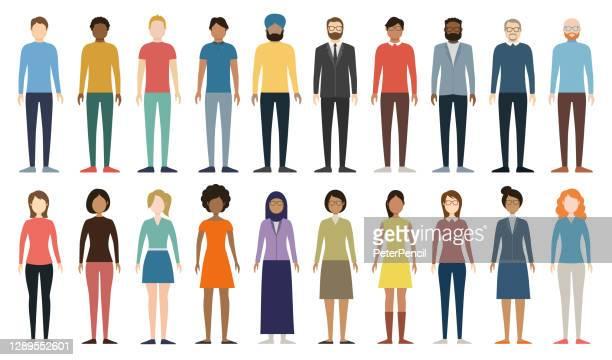 多文化の人々のグループ。異なる男性と女性のセット。フル高さの数字。若い、大人と年上のペール。ヨーロッパ、アジア、アフリカ、アラビアの人々。多様な空の顔。ベクターの図。 - キャラクター点のイラスト素材/クリップアート素材/マンガ素材/アイコン素材