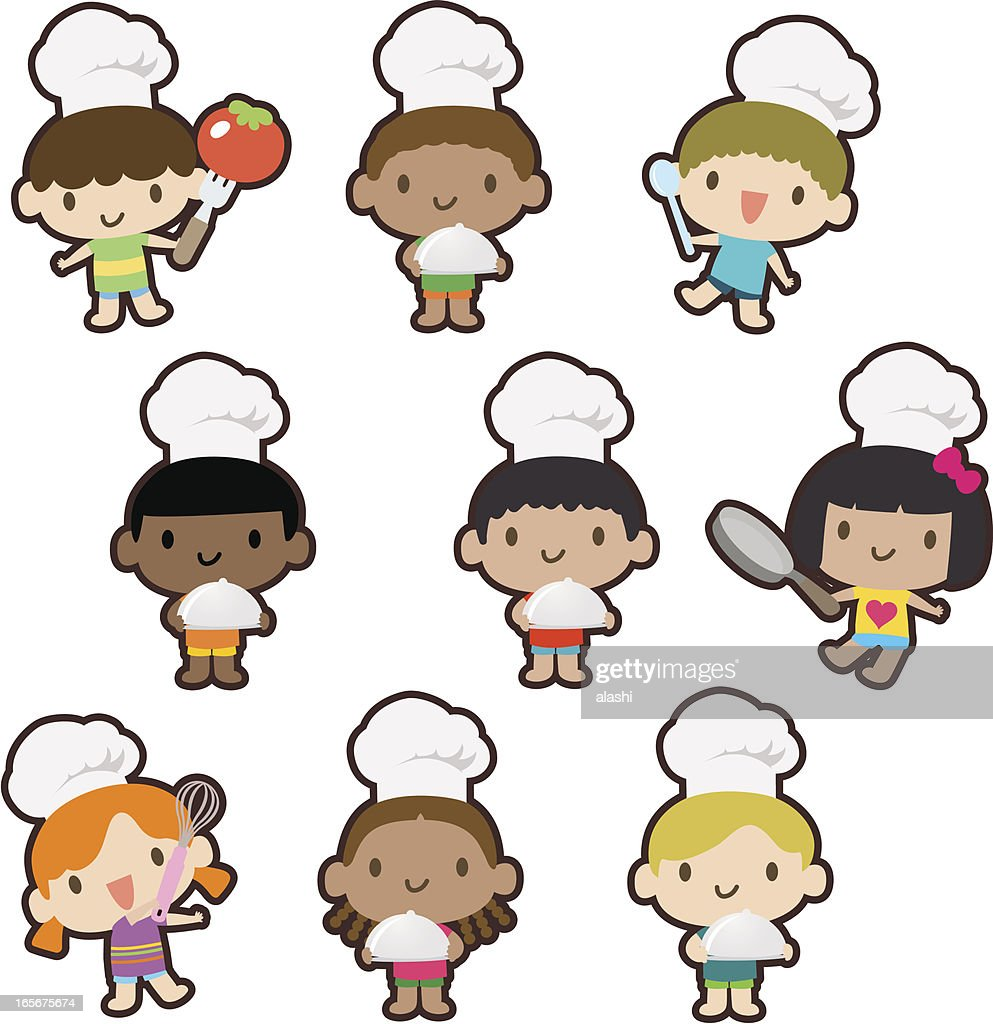 Multicultural kids cooking, baking, carrying a covered dinner plate