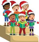 Multicultural kids xmas hat singing Christmas carol choir riser isolated