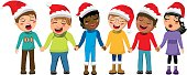Multicultural kids xmas hat singing Christmas carol hand isolated