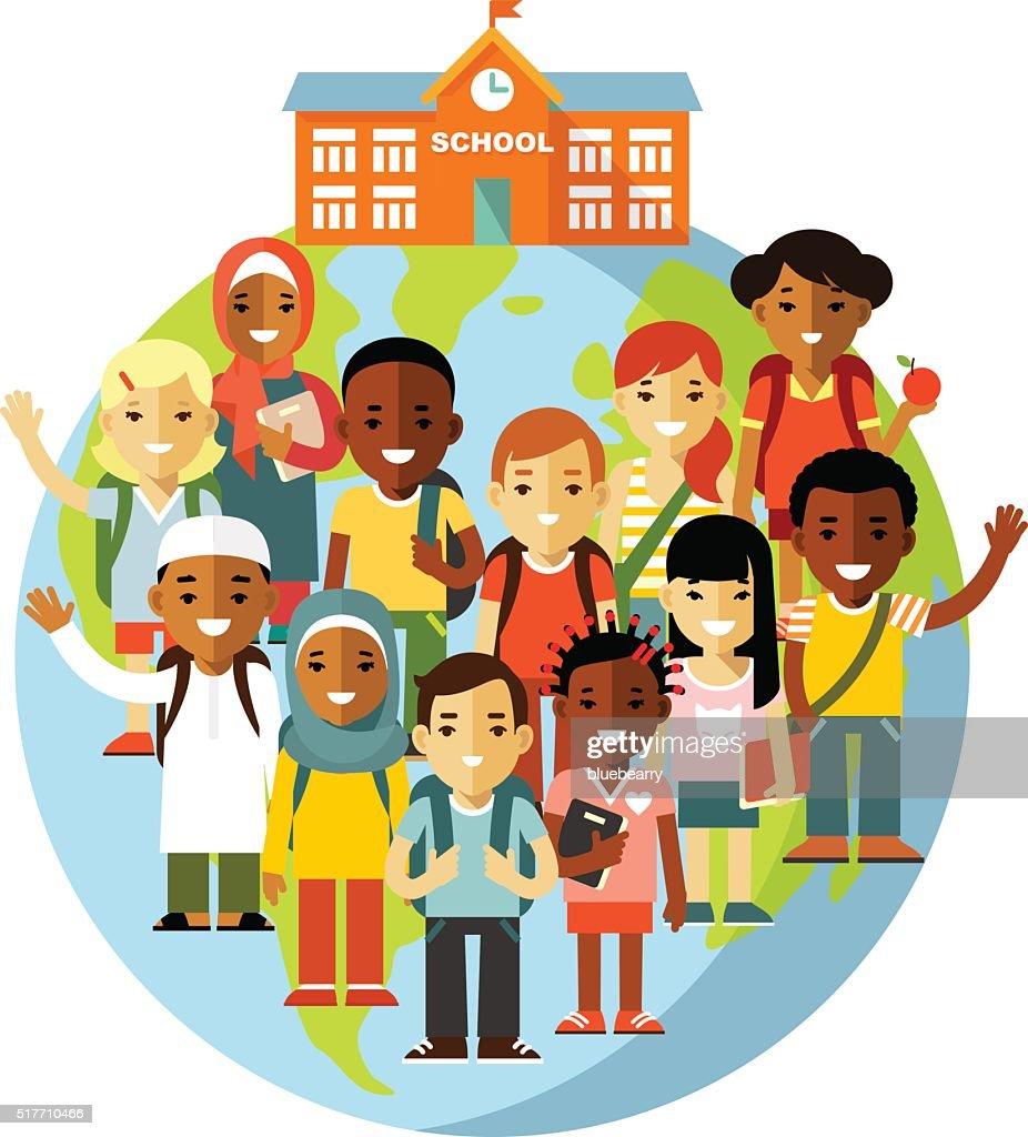 Multicultural school kids concept