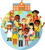 Multicultural school kids concept