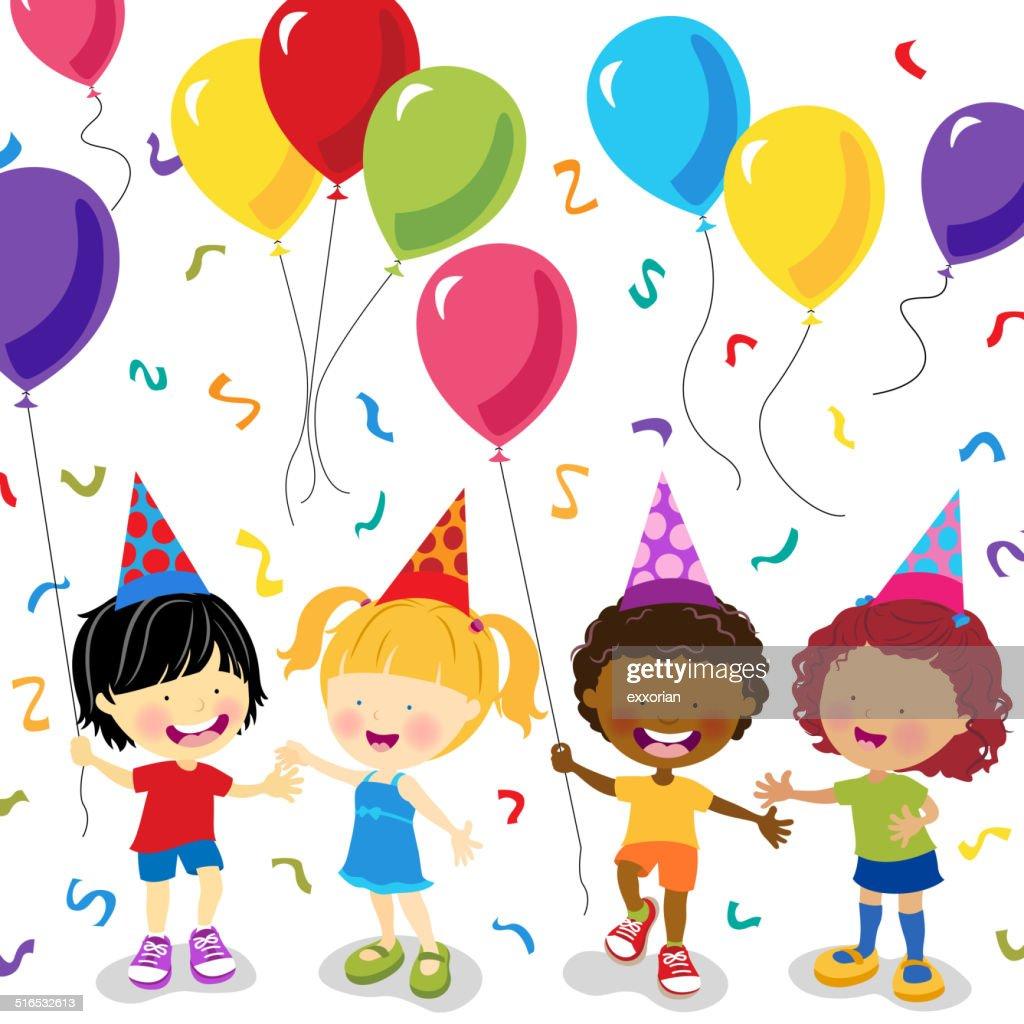 Multi-étnica criança com balões de festa : Ilustração