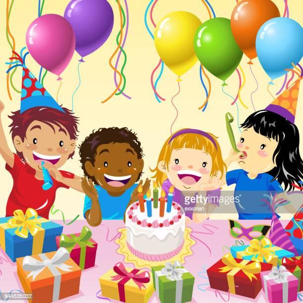 illustrations, cliparts, dessins animés et icônes de fête d'anniversaire enfants multiethnique - anniversaire enfant
