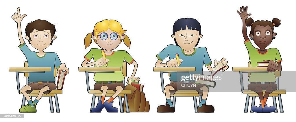 Multiethnic Classroom : stock illustration