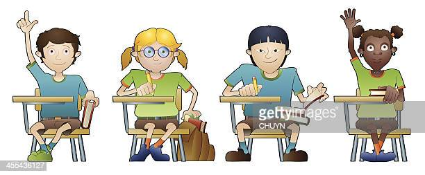 ilustrações, clipart, desenhos animados e ícones de multiétnico de sala de aula - aluno do ensino médio