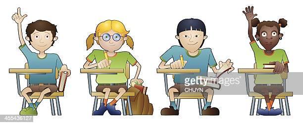 multiethnic classroom - high school student stock illustrations, clip art, cartoons, & icons