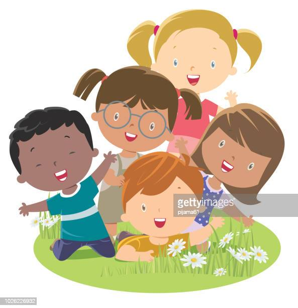 multi-ethnic group child - recreational pursuit stock illustrations, clip art, cartoons, & icons