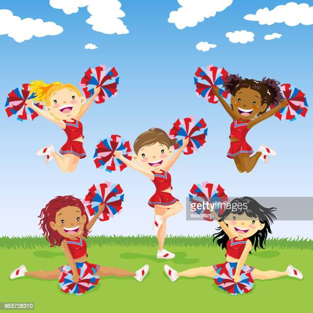 multi-ethnic group of cheerleader - pep rally stock illustrations, clip art, cartoons, & icons