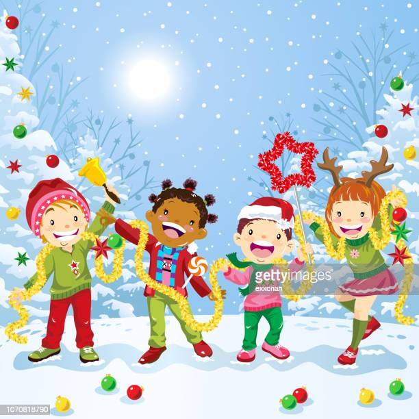 ilustraciones, imágenes clip art, dibujos animados e iconos de stock de grupo multiétnico de niños celebrando la navidad - decorar