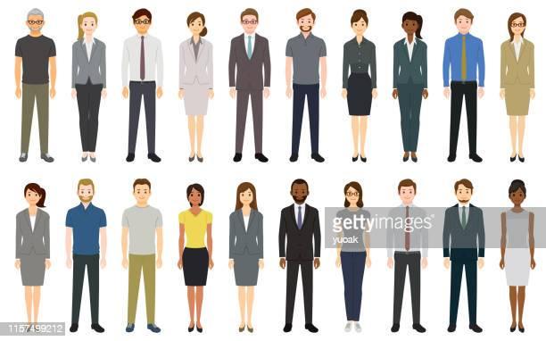 multiethnic group of people - businesswear stock illustrations
