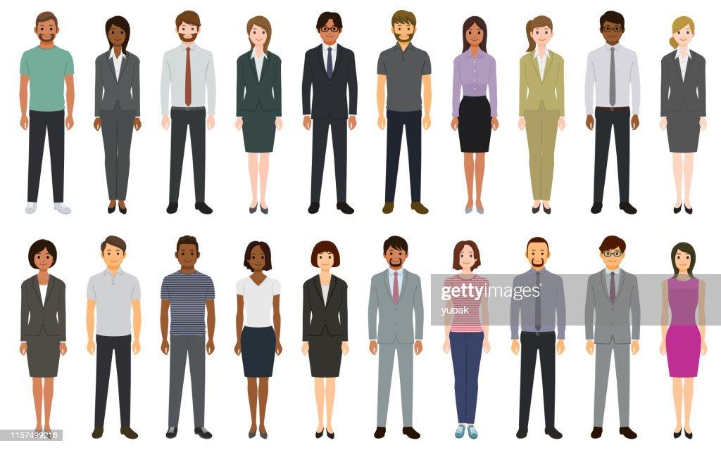 Multi-etnische groep mensen : Stockillustraties