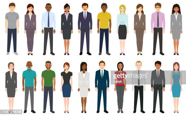 multiethnic group of people - white collar worker stock illustrations