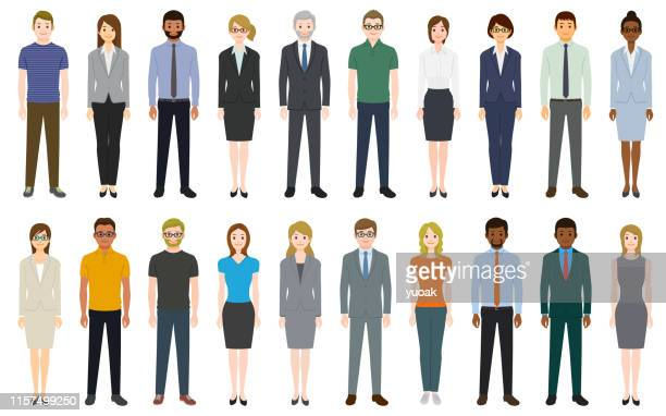 multiethnic group of people - professional occupation stock illustrations
