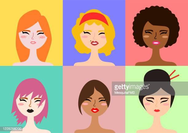 ilustrações, clipart, desenhos animados e ícones de grupo multiétnico de mulheres - cabelo preto
